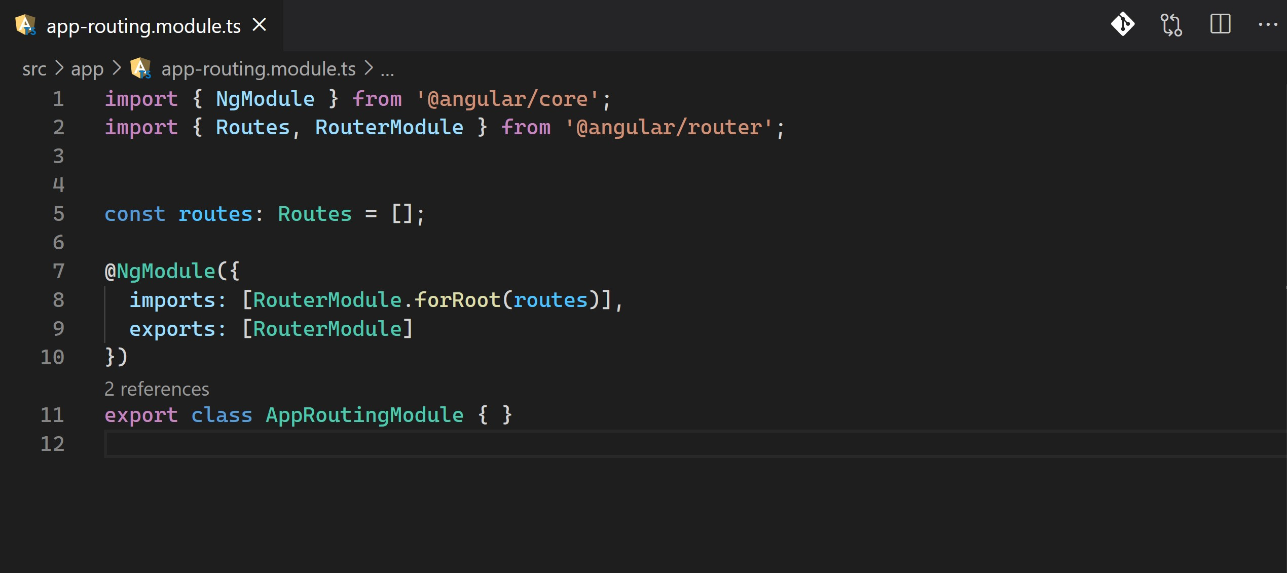 Angular Routing Module definition in VS Code